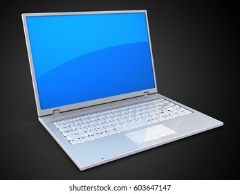 3d illustration of laptop over black background with blue reflection screen