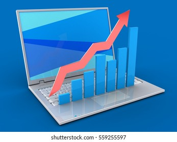 3d illustration of laptop over blue background with blue screen and rising charts