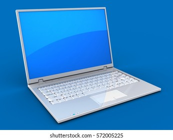 3d illustration of laptop over blue background with blue reflection screen