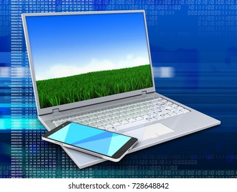 3d illustration of laptop over digital background with meadow screen and smartphone