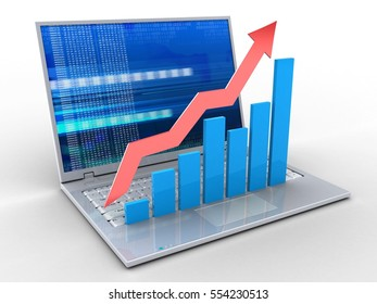 3d illustration of laptop over white background with digital screen and rising charts