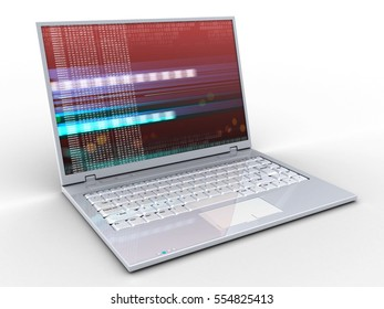3d illustration of laptop over white background with red digital screen