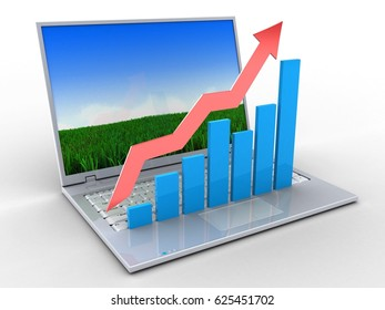3d illustration of laptop over white background with meadow screen and rising charts