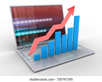 3d illustration of laptop over white background with red digital screen and rising charts