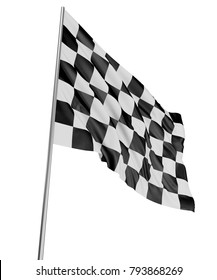 3d illustration. Large Checkered Flag with fabric surface texture. White background.