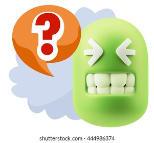 3d Illustration Laughing Character Emoji Expression saying ? with Colorful Speech Bubble.