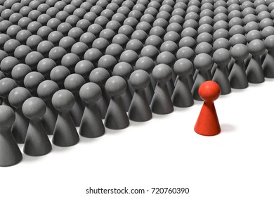 3d illustration of a leader and the crowd