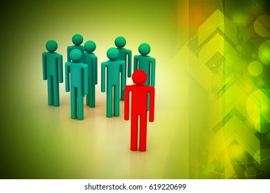 3d illustration of Leadership concept, leader and team
