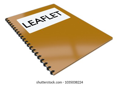 3D illustration of LEAFLET script on a booklet, isolated on white.
