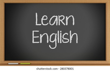3d illustration. Learn English written on blackboard. Education concept