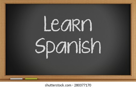 3d illustration. Learn Spanish written on blackboard. Education concept