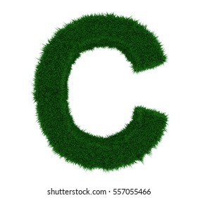 3D illustration of the letter C, with a grass texture and plain white background. Simple white background and high resolution render used for ease of isolation.