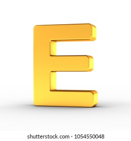 3D Illustration of the Letter E as a polished golden object over white background with clipping path for quick and accurate isolation.