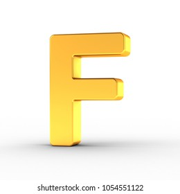 3D Illustration of the Letter F as a polished golden object over white background with clipping path for quick and accurate isolation.