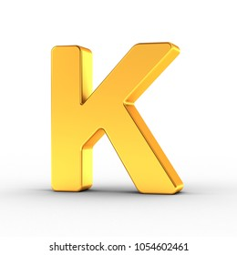 3D Illustration of the Letter K as a polished golden object over white background with clipping path for quick and accurate isolation.