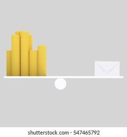 3d illustration. Letter and money balance