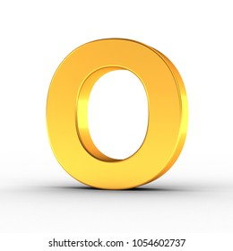 3D Illustration of the Letter O as a polished golden object over white background with clipping path for quick and accurate isolation.