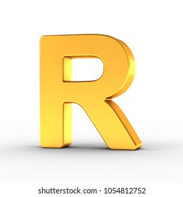 3D illustration of the Letter R as a polished golden object over white background with clipping path for quick and accurate isolation.