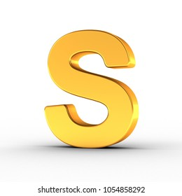 3D illustration of the Letter S as a polished golden object over white background with clipping path for quick and accurate isolation.