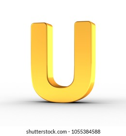 3D illustration of the Letter U as a polished golden object over white background with clipping path for quick and accurate isolation.