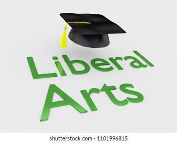 3D illustration of Liberal Arts script under a graduation hat