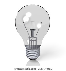 3D illustration - light bulb