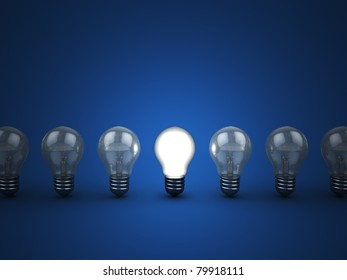 3d illustration of light bulbs row with one shining