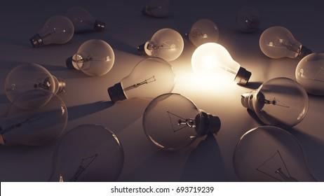 3D illustration - Lightbulb