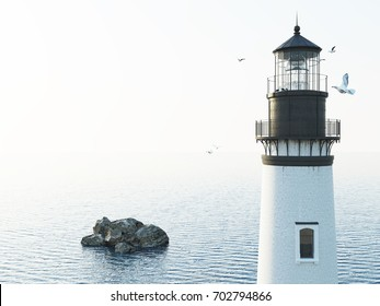 3D illustration lighthouse at day in the fog