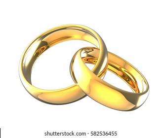 3d illustration linked gold wedding rings isolated on  white background.