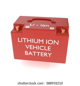 3D illustration lithium ion vehicle battery