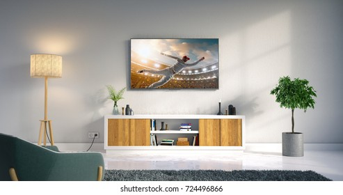 3D illustration of a living room led tv on white wall with wooden table and plant in pot showing cricket game moment .