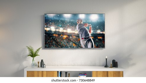 3D illustration of a living room led tv on white wall with wooden table and plant in pot showing baseball game moment .