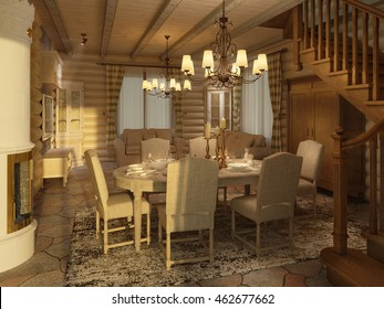 3D illustration of log home interior, dining room, served dinner table, fireplace, staircase, evening lights