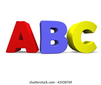 3d illustration looks the abc multicolored.