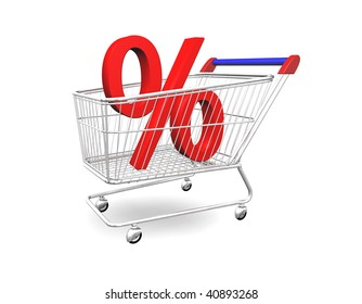 3d illustration looks a shopping cart with percentage.