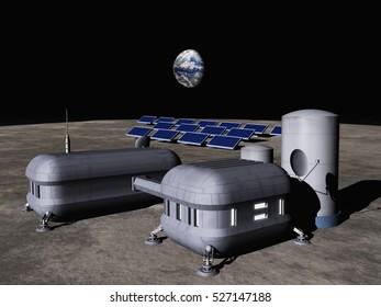 3d illustration of a lunar base