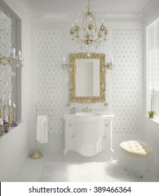 3D illustration of luxury bathroom in white color with author`s plaster cornice ceramic tile and mirror tile pattern and typical sanitary and light in classic style