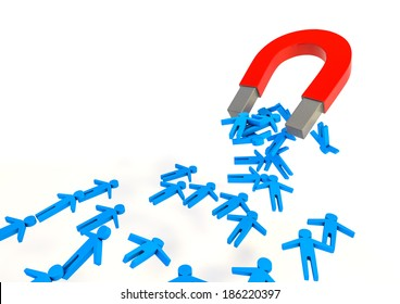 3d Illustration of a magnet attracting people. (human resource concept)