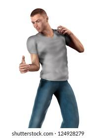 3d illustration of male dancer over white background