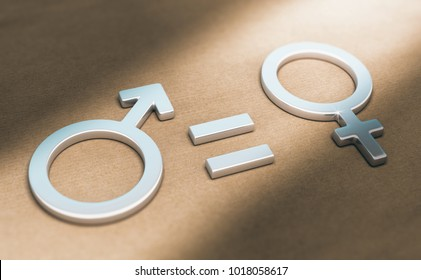 3d illustration of male and female symbols with equal sign over paper background. Concept of women rights and gender equality.