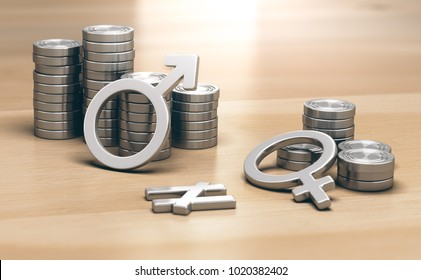 3D illustration of male and female symbols with 2 piles of coins a small one for women and a larger one for men.