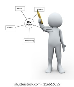 3d Illustration of man drawing seo plan diagram. 3d rendering of human character