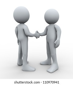 3d Illustration of man hand shaking with another guy. 3d rendering of human character