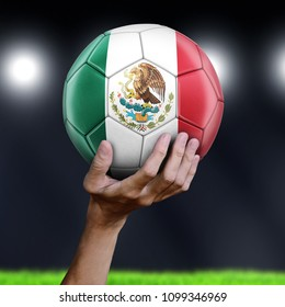 3d illustration. Man holding Soccer ball with Mexican flag