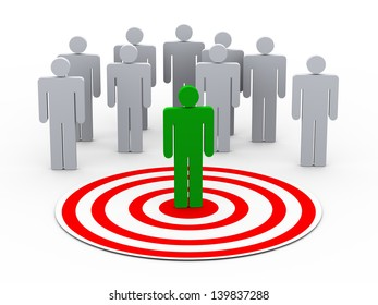 3d illustration of man on target choose from group of people on target
