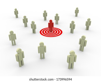 3d illustration of man on target.  Concept of targeting new customers and buyers for sales growth.