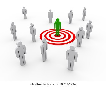 3d illustration of man on target. concept of targeting buyers and customers