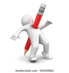 3D Illustration. Man with pencil. Image with clipping path