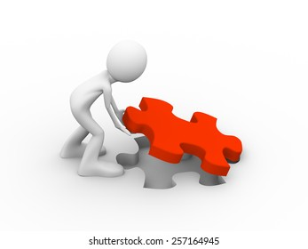 3d illustration of man placing red puzzle solution piece. Concept of problem solution, goal achievement, success.  3d human person character and white people